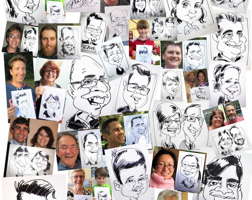 Live caricature drawing montage