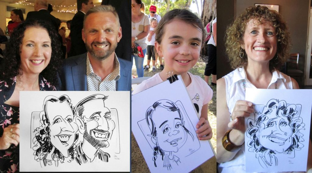 Several people showing their new caricature cartoons